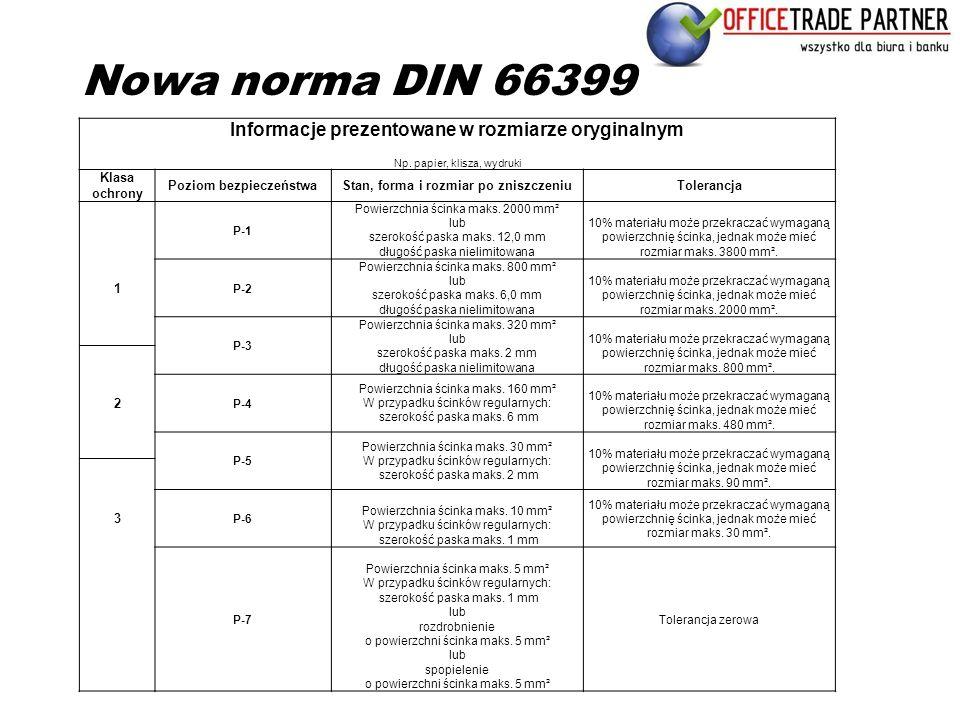 Nowa norma DIN 66399 Informacje prezentowane w rozmiarze oryginalnym Np. papier, klisza, wydruki Klasa ochrony Poziom bezpieczeństwaStan, forma i rozm