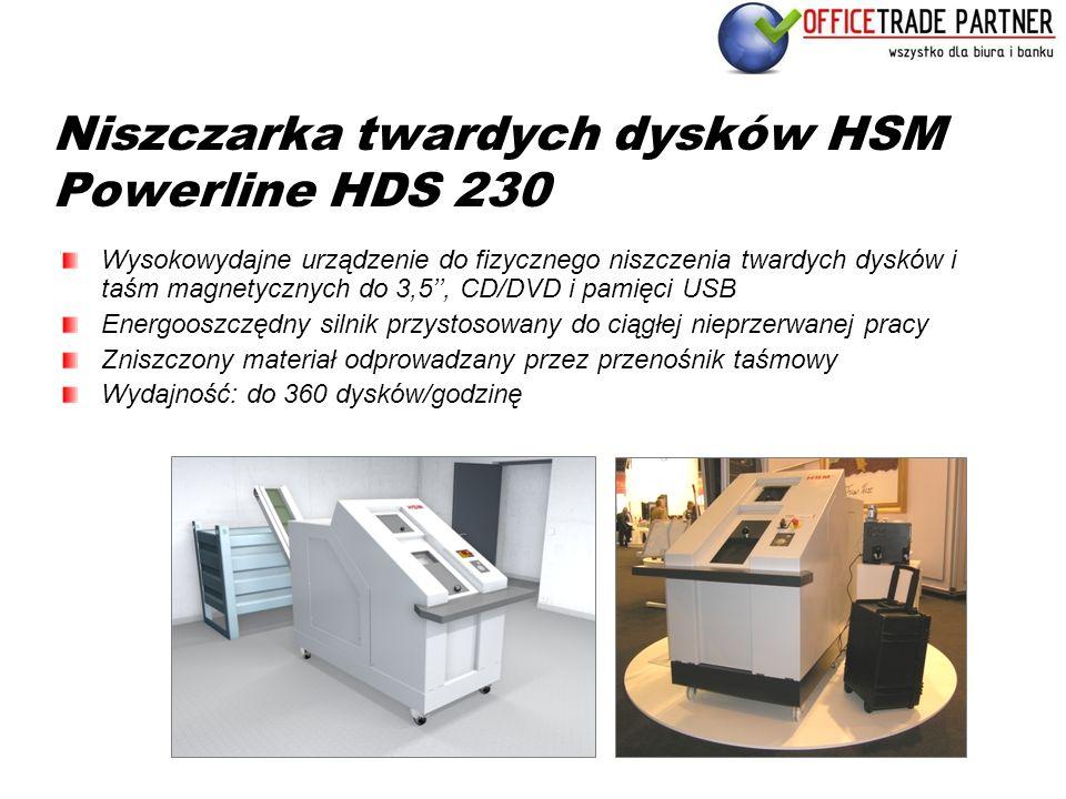 Niszczarka twardych dysków HSM Powerline HDS 230 Wysokowydajne urządzenie do fizycznego niszczenia twardych dysków i taśm magnetycznych do 3,5'', CD/D