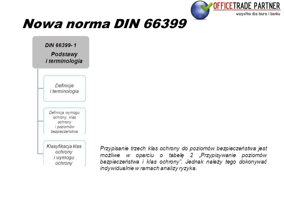 """Nowa norma DIN 66399 Przypisanie trzech klas ochrony do poziomów bezpieczeństwa jest możliwe w oparciu o tabelę 2 """"Przypisywanie poziomów bezpieczeńst"""