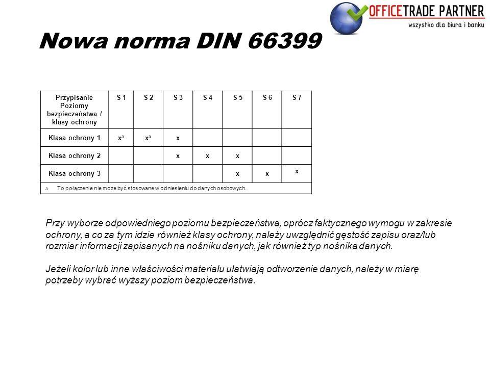 Nowa norma DIN 66399 Przypisanie Poziomy bezpieczeństwa / klasy ochrony S 1S 2S 3S 4S 5S 6S 7 Klasa ochrony 1xaxa xaxa x Klasa ochrony 2xxx Klasa ochr
