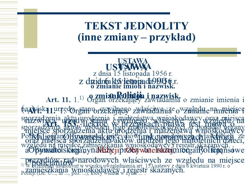 TEKST JEDNOLITY (inne zmiany – przykład) USTAWA z dnia 6 kwietnia 1990 r.