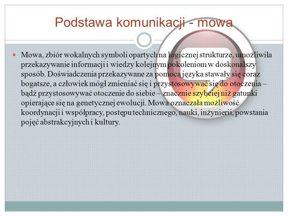 Podstawa komunikacji - mowa Mowa, zbiór wokalnych symboli opartych na logicznej strukturze, umożliwiła przekazywanie informacji i wiedzy kolejnym pokoleniom w doskonalszy sposób.