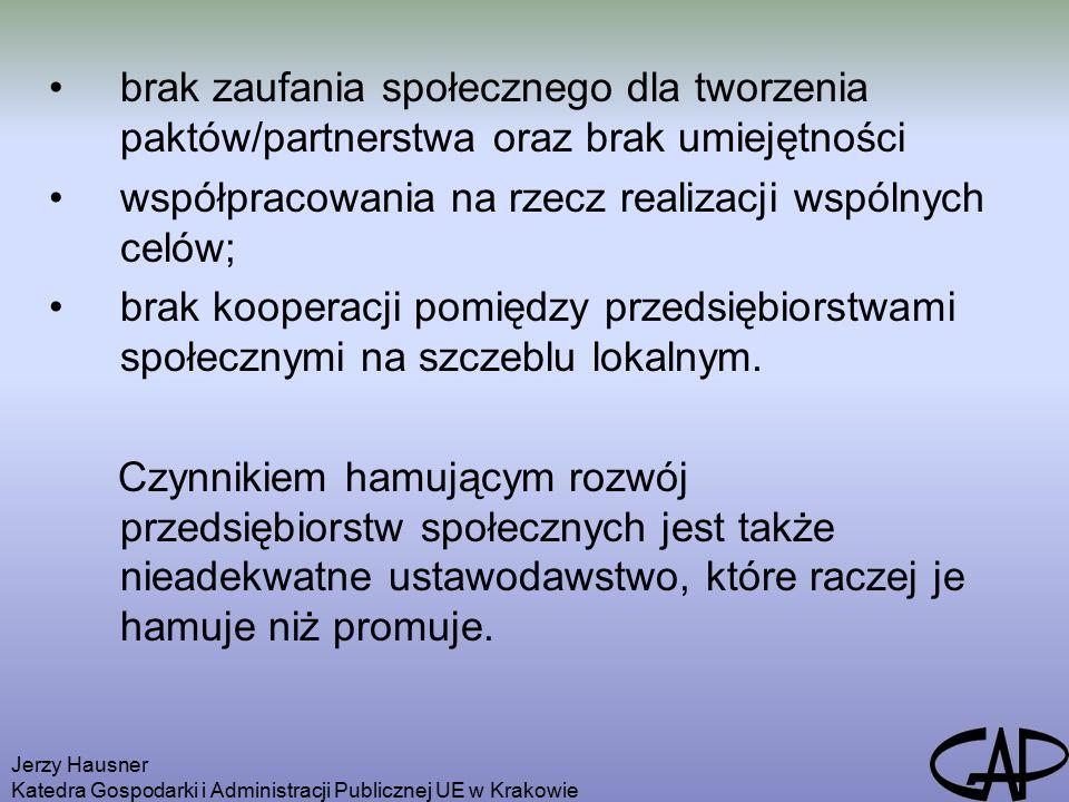 Jerzy Hausner Katedra Gospodarki i Administracji Publicznej UE w Krakowie brak zaufania społecznego dla tworzenia paktów/partnerstwa oraz brak umiejętności współpracowania na rzecz realizacji wspólnych celów; brak kooperacji pomiędzy przedsiębiorstwami społecznymi na szczeblu lokalnym.