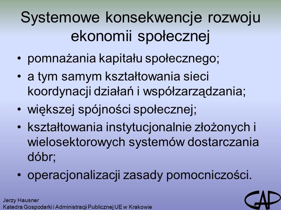 Jerzy Hausner Katedra Gospodarki i Administracji Publicznej UE w Krakowie Systemowe konsekwencje rozwoju ekonomii społecznej pomnażania kapitału społecznego; a tym samym kształtowania sieci koordynacji działań i współzarządzania; większej spójności społecznej; kształtowania instytucjonalnie złożonych i wielosektorowych systemów dostarczania dóbr; operacjonalizacji zasady pomocniczości.