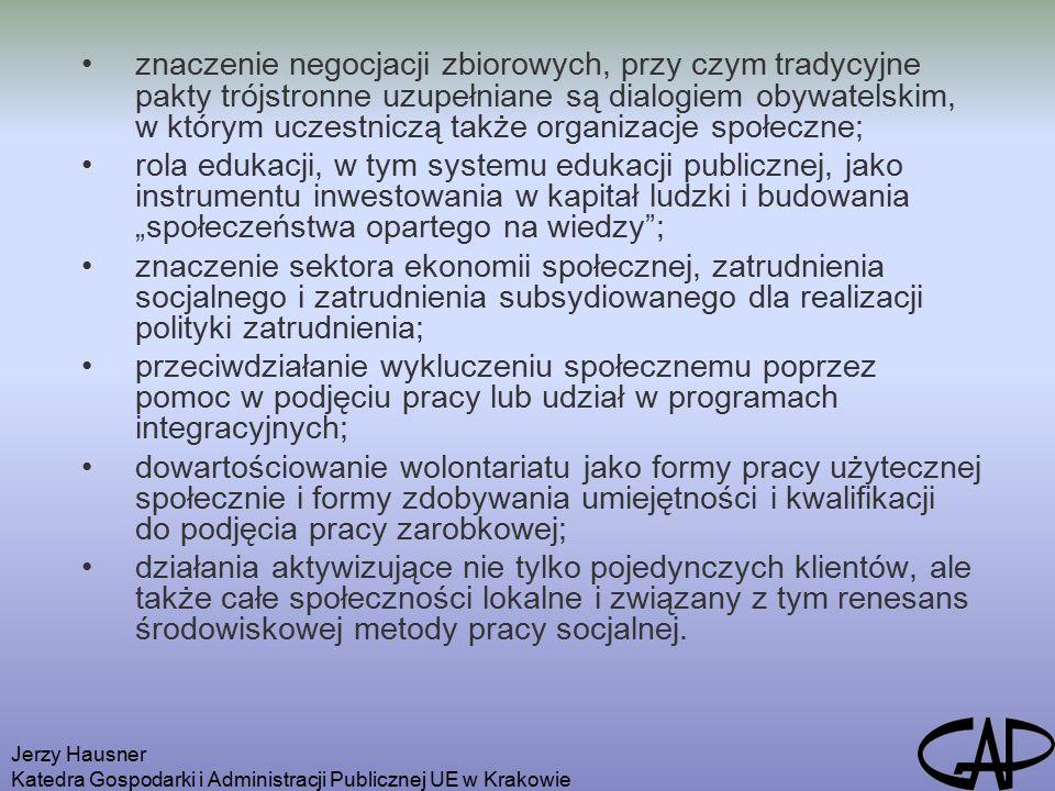 Jerzy Hausner Katedra Gospodarki i Administracji Publicznej UE w Krakowie Konsekwencje błędnej polityki społecznej ukierunkowuje aktywność państwa nie na wspomaganie aktywizacji zawodowej, lecz na udzielanie pomocy społecznej tym, którzy aktywni zawodowo nie są ukierunkowuje aktywność wielu jednostek nie na dążenie do utrzymania się na rynku pracy, lecz na uzyskanie zabezpieczenia