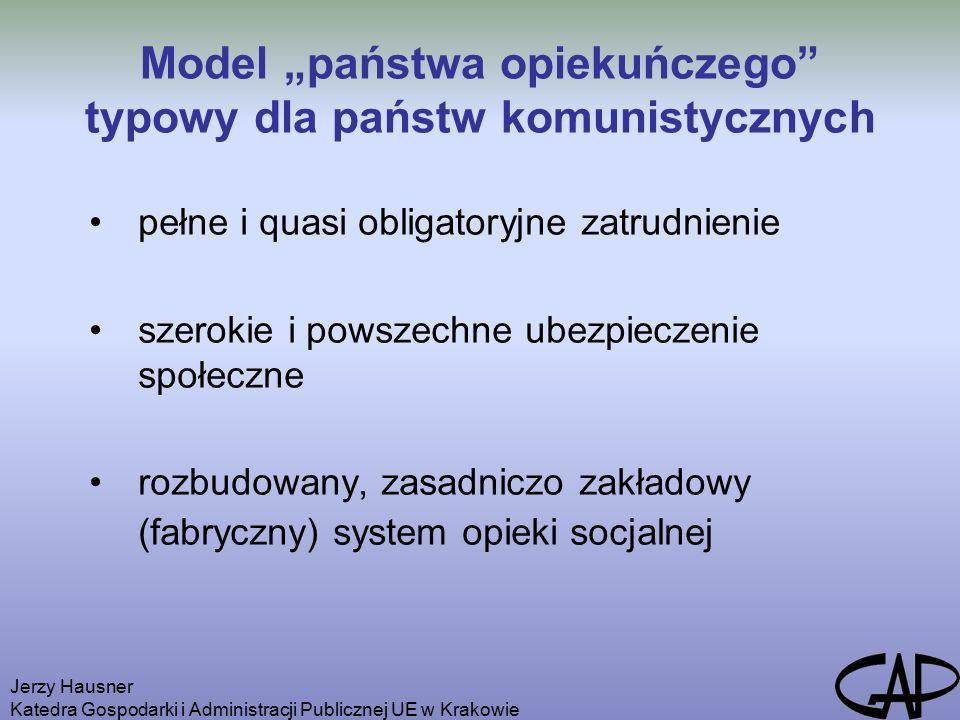 Jerzy Hausner Katedra Gospodarki i Administracji Publicznej UE w Krakowie Problemy reformowania systemu zabezpieczenia społecznego w krajach pokomunistycznych 1)Społeczeństwa pokomunistyczne na ogół wykazują zrozumienie dla konieczności odejścia od scentralizowanych, paternalistycznych i finansowanych z podatków rozwiązań i zastępowania ich rozwiązaniami zdecentralizowanymi, niepaństwowymi oraz stwarzającymi przestrzeń dla konkurencji.