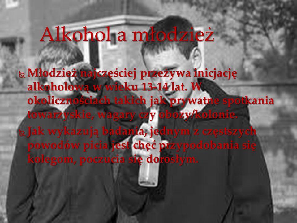  Młodzież najczęściej przeżywa inicjację alkoholową w wieku 13-14 lat. W okolicznościach takich jak prywatne spotkania towarzyskie, wagary czy obozy/