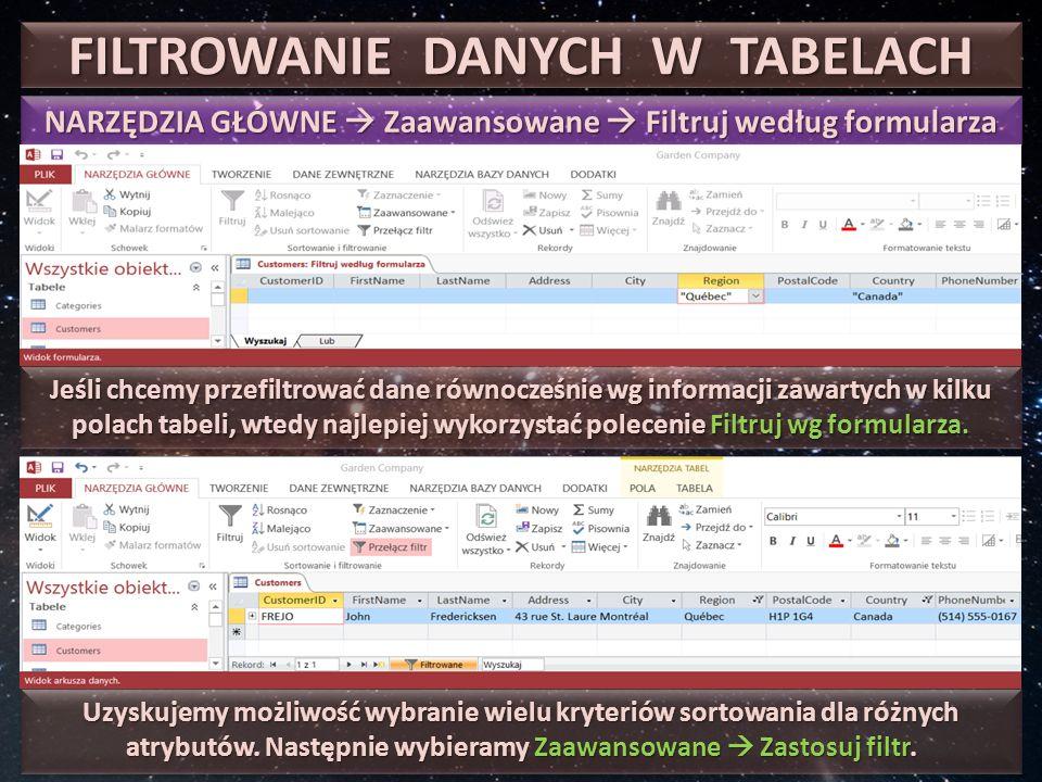 FILTROWANIE DANYCH WG FORMULARZA MENU: Narzędzia główne  Zaawansowane  Filtruj wg formularza W przypadku potrzeby sortowania danych na podstawie informacji zwartych w kilku polach, najszybszą metodą jest filtrowanie według formularza, a następnie.
