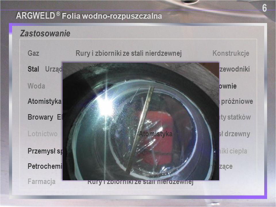 Specjalnie opracowana do: 7 7 ■ Folia Argweld ® jest niedrogim i efektywnym produktem do zapewniania poduszki argonowej dla instalacji z różnymi średnicami rur ■ Do spoin zamykających jeśli nie można umieścić np.