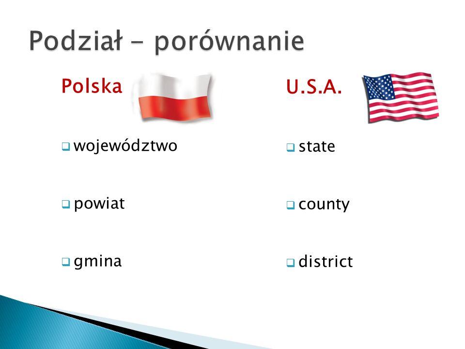 Polska  województwo  powiat  gmina U.S.A.  state  county  district