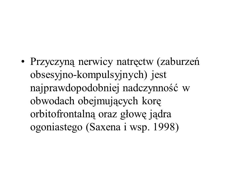 Przyczyną nerwicy natręctw (zaburzeń obsesyjno-kompulsyjnych) jest najprawdopodobniej nadczynność w obwodach obejmujących korę orbitofrontalną oraz gł