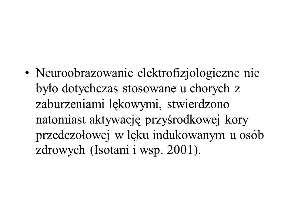 Neuroobrazowanie elektrofizjologiczne nie było dotychczas stosowane u chorych z zaburzeniami lękowymi, stwierdzono natomiast aktywację przyśrodkowej kory przedczołowej w lęku indukowanym u osób zdrowych (Isotani i wsp.