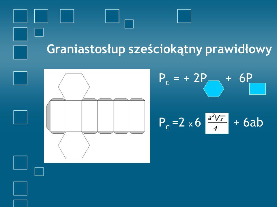 Graniastosłup trójkątny prawidłowy P c = 2P + 3P P c = 2 + 3ab