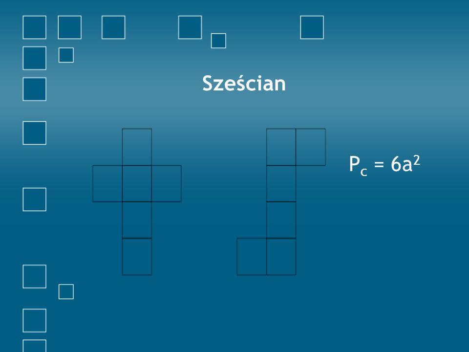 Graniastosłup sześciokątny prawidłowy P c = + 2P + 6P P c =2 x 6 + 6ab