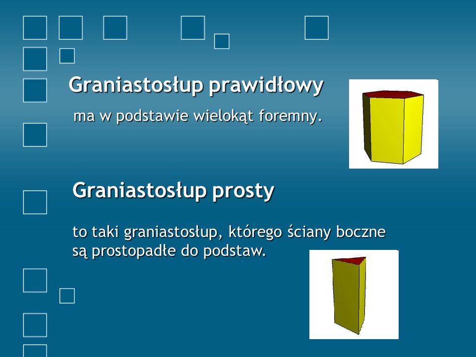 Graniastosłup prawidłowy ma w podstawie wielokąt foremny.
