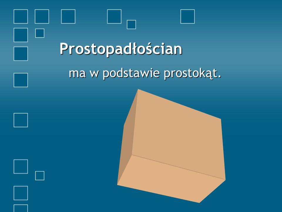 Prostopadłościan ma w podstawie prostokąt.