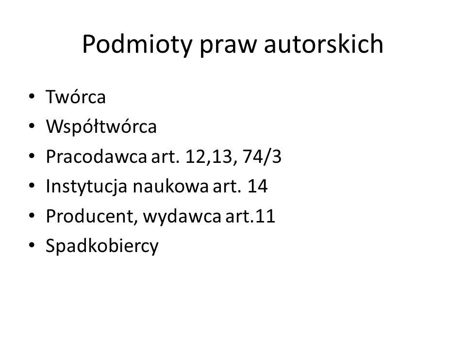 Podmioty praw autorskich Twórca Współtwórca Pracodawca art.