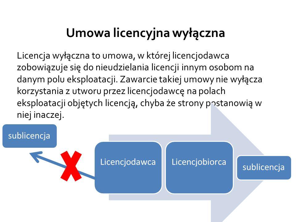 Umowa licencyjna wyłączna Licencja wyłączna to umowa, w której licencjodawca zobowiązuje się do nieudzielania licencji innym osobom na danym polu eksploatacji.
