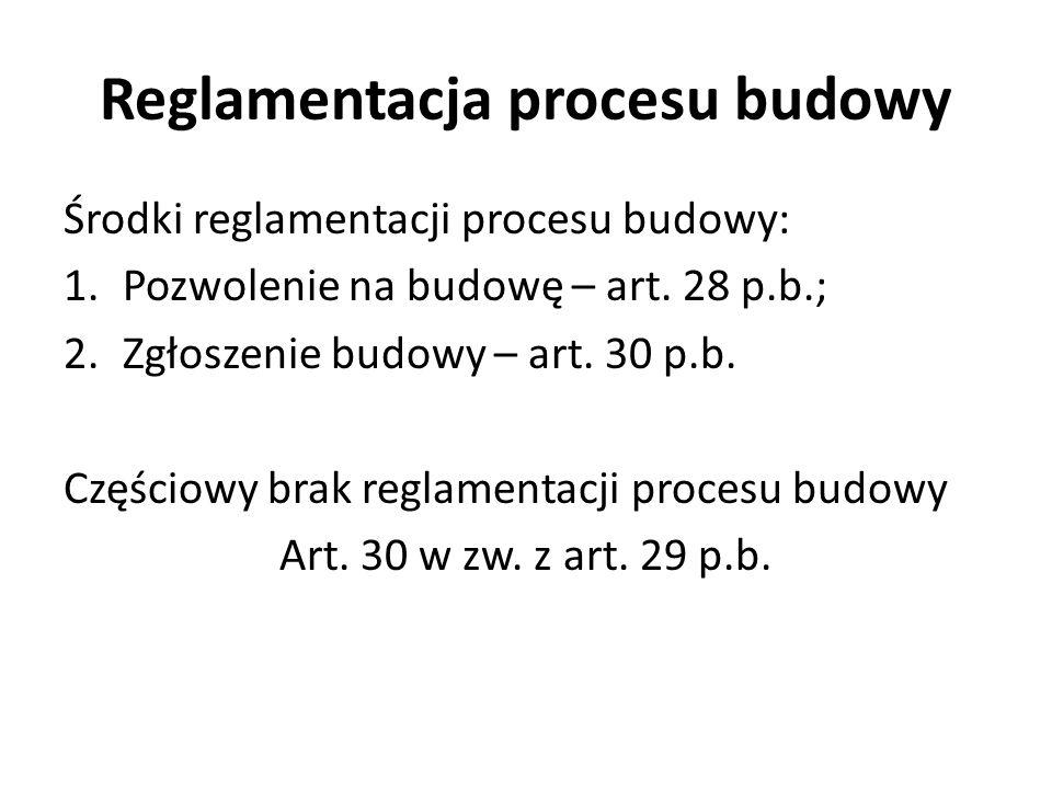 Środki reglamentacji procesu budowy: 1.Pozwolenie na budowę – art.