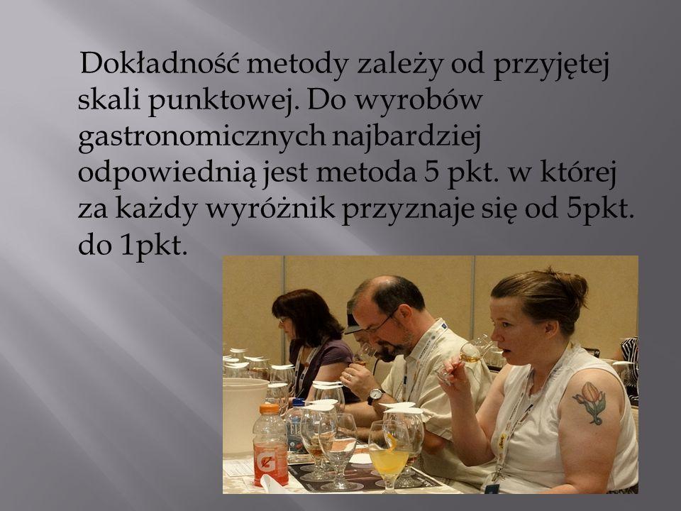 Dokładność metody zależy od przyjętej skali punktowej. Do wyrobów gastronomicznych najbardziej odpowiednią jest metoda 5 pkt. w której za każdy wyróżn