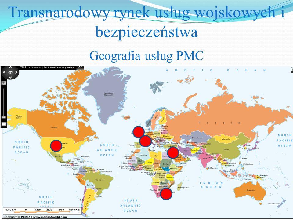 Transnarodowy rynek usług wojskowych i bezpieczeństwa Geografia usług PMC