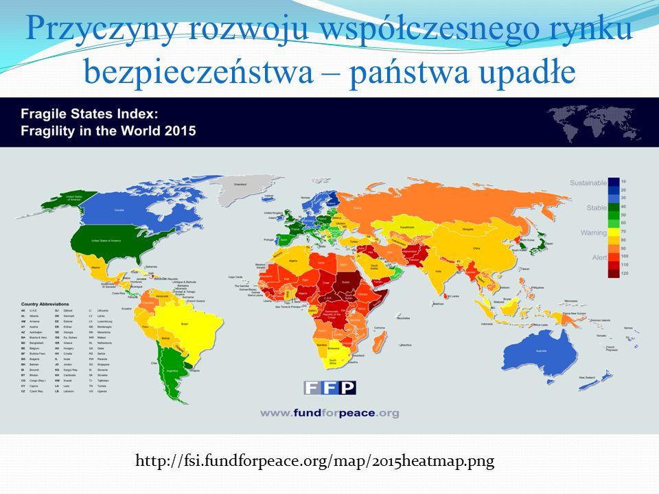 Przyczyny rozwoju współczesnego rynku bezpieczeństwa – państwa upadłe http://fsi.fundforpeace.org/map/2015heatmap.png