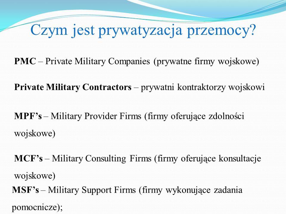 Czym jest prywatyzacja przemocy? PMC – Private Military Companies (prywatne firmy wojskowe) Private Military Contractors – prywatni kontraktorzy wojsk