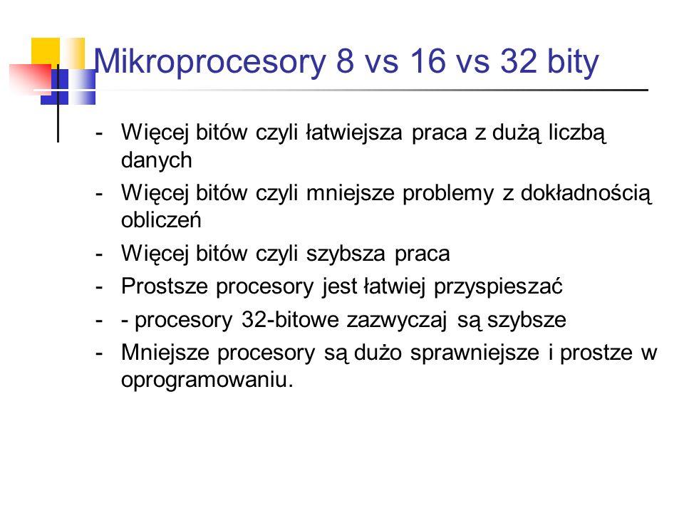 Mikroprocesory 8 vs 16 vs 32 bity -Więcej bitów czyli łatwiejsza praca z dużą liczbą danych -Więcej bitów czyli mniejsze problemy z dokładnością oblic