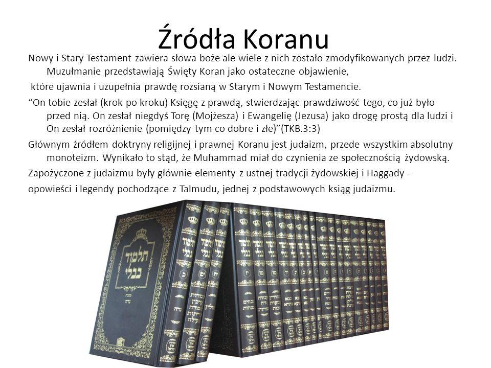 Źródła Koranu Nowy i Stary Testament zawiera słowa boże ale wiele z nich zostało zmodyfikowanych przez ludzi.