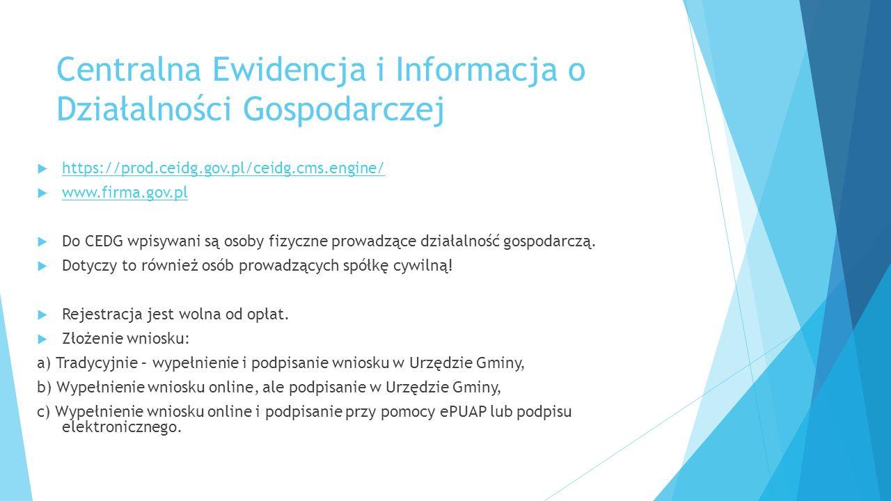 Centralna Ewidencja i Informacja o Działalności Gospodarczej  https://prod.ceidg.gov.pl/ceidg.cms.engine/ https://prod.ceidg.gov.pl/ceidg.cms.engine/