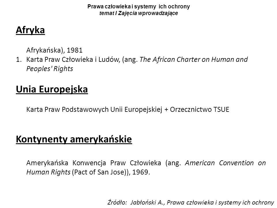Prawa człowieka i systemy ich ochrony temat I Zajęcia wprowadzające Afryka Afrykańska), 1981 1.Karta Praw Człowieka i Ludów, (ang. The African Charter