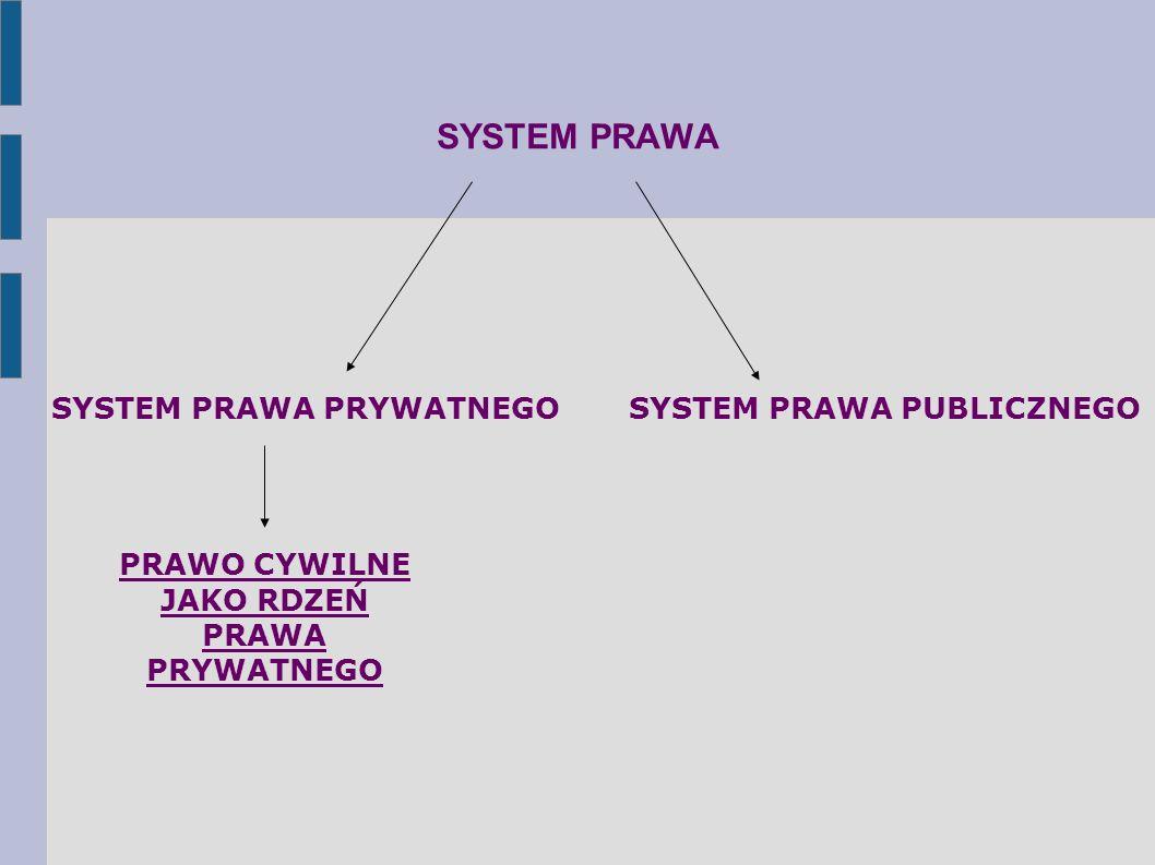 SYSTEM PRAWA SYSTEM PRAWA PRYWATNEGOSYSTEM PRAWA PUBLICZNEGO PRAWO CYWILNE JAKO RDZEŃ PRAWA PRYWATNEGO