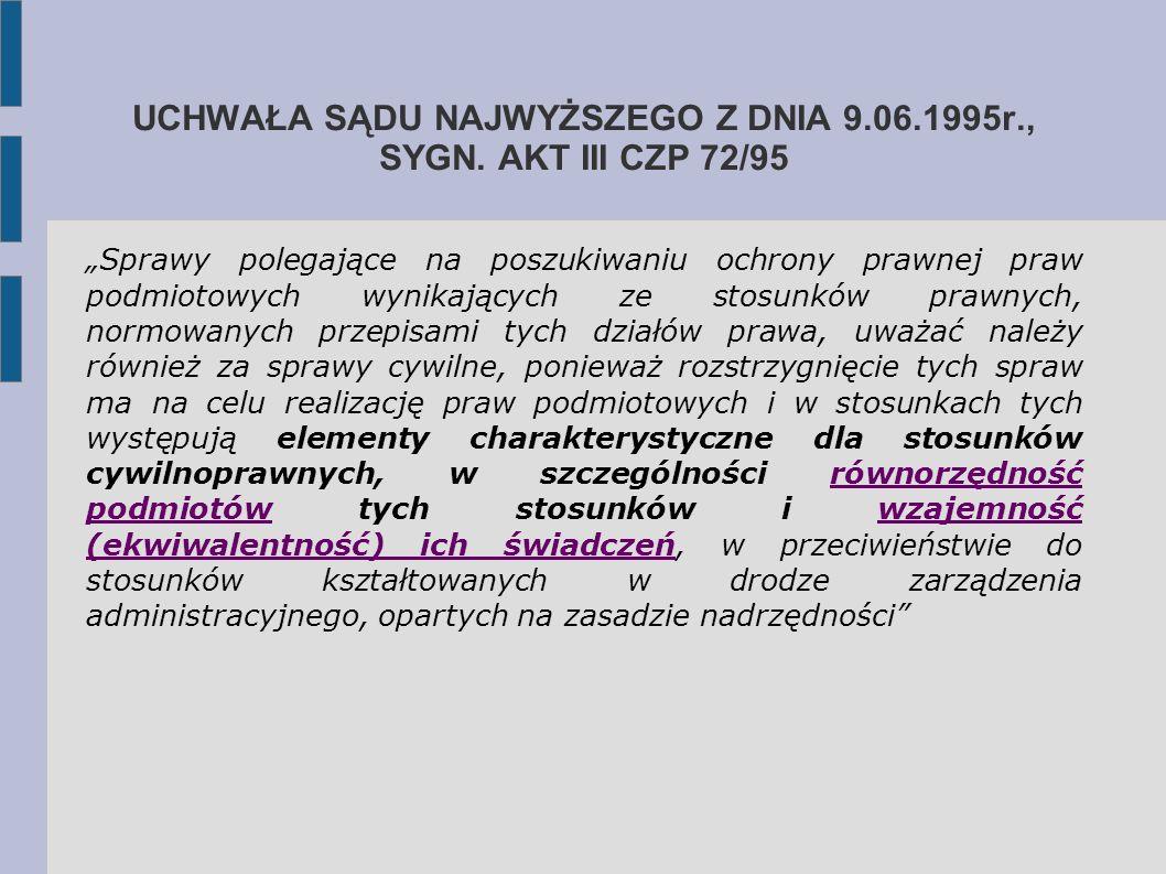 """UCHWAŁA SĄDU NAJWYŻSZEGO Z DNIA 9.06.1995r., SYGN. AKT III CZP 72/95 """"Sprawy polegające na poszukiwaniu ochrony prawnej praw podmiotowych wynikających"""