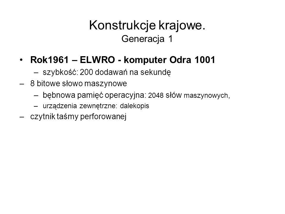 Konstrukcje krajowe. Generacja 1 Rok1961 – ELWRO - komputer Odra 1001 –szybkość: 100 dodawań na sekundę –używał do obliczeń pozycyjnego systemu liczbo