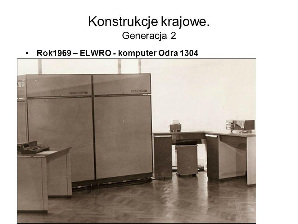 Konstrukcje krajowe. Generacja 2 Rok1967 – ELWRO - komputer Odra 1204 o organizacji równoległej, mikroprogramowanej –długość słowa maszynowego: 24 bit