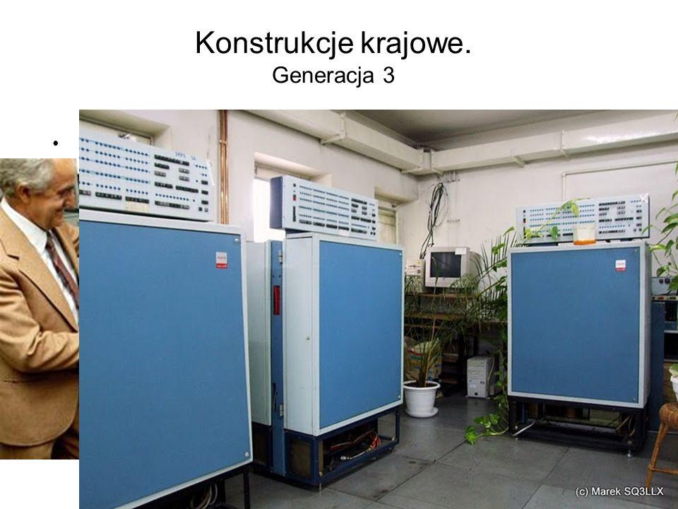 Konstrukcje krajowe. Generacja 3 Rok1971 – ELWRO - komputer Odra 1305 - mikroprogramowany komputer III generacji zbudowany na układach scalonych TTL M