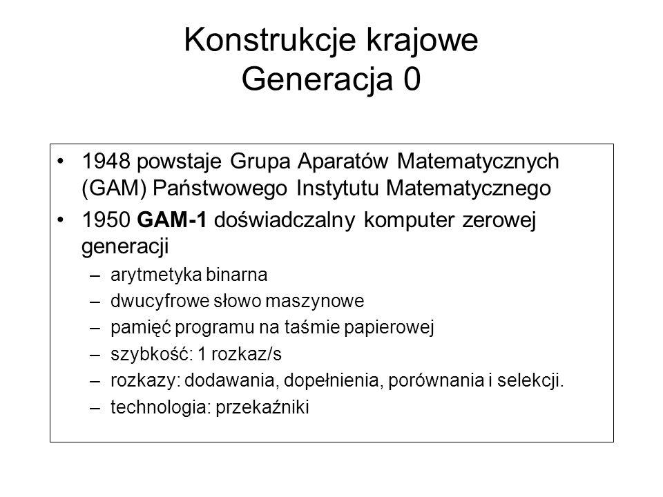 Konstrukcje krajowe Generacja 0 1948 powstaje Grupa Aparatów Matematycznych (GAM) Państwowego Instytutu Matematycznego 1950 GAM-1 doświadczalny komputer zerowej generacji –arytmetyka binarna –dwucyfrowe słowo maszynowe –pamięć programu na taśmie papierowej –szybkość: 1 rozkaz/s –rozkazy: dodawania, dopełnienia, porównania i selekcji.