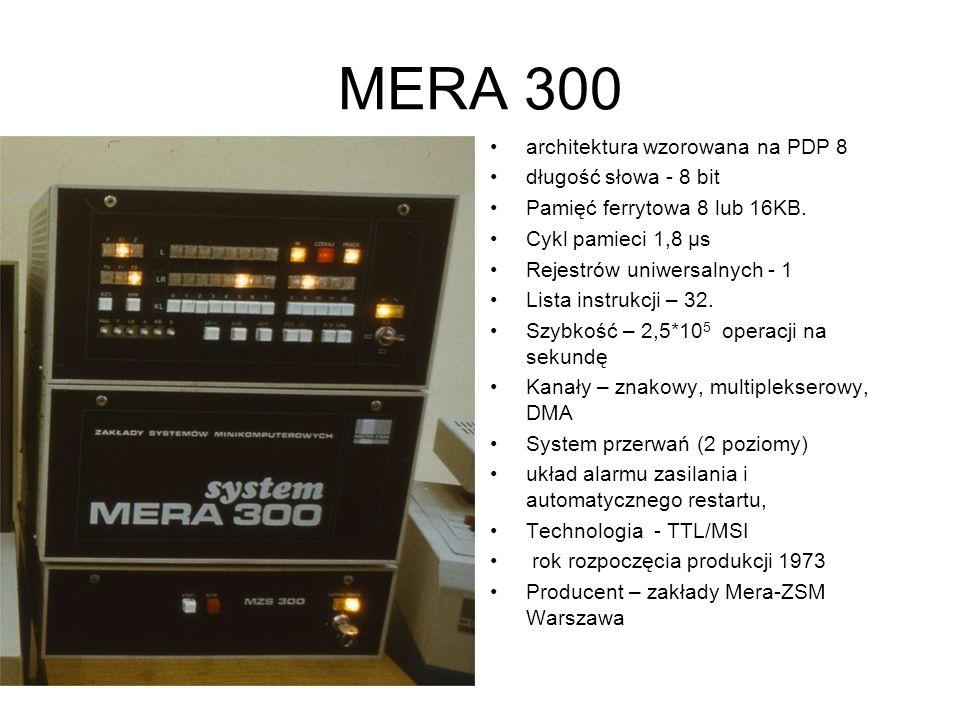 MERA 400 architektura wzorowana na K 202 długość słowa - 16 bit Pamięć operacyjna max 17 bloków po 64 KB. Rejestrów uniwersalnych – 8 3 tryby adresacj