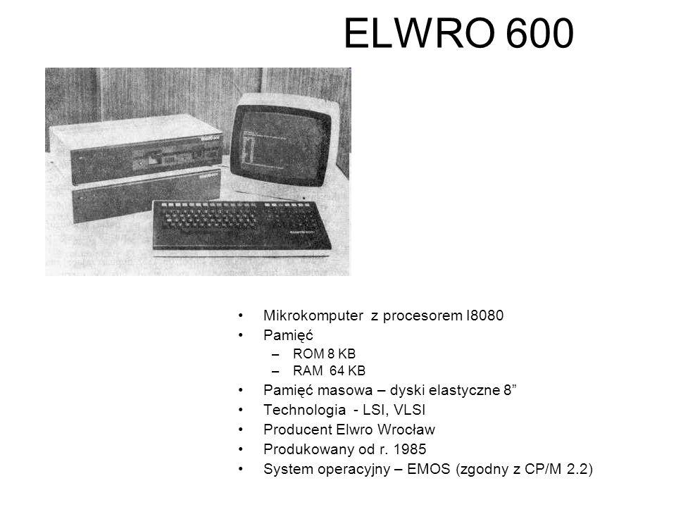 """ELWRO 500 Mikrokomputer z procesorem I8080 Pamięć –ROM 12 KB –RAM 48 KB Pamięć masowa – dyski elastyczne 8"""" Technologia - LSI, VLSI Producent Elwro Wr"""