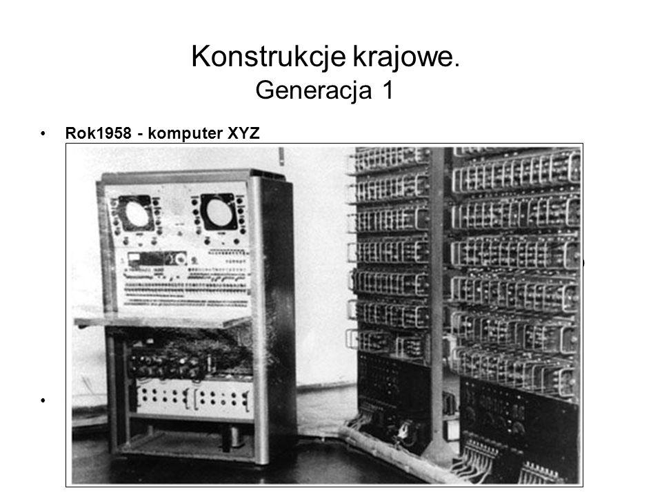 Konstrukcje krajowe Generacja 0 1948 powstaje Grupa Aparatów Matematycznych (GAM) Państwowego Instytutu Matematycznego 1950 GAM-1 doświadczalny komput