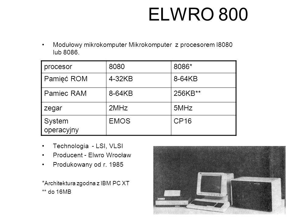 """ELWRO 600 Mikrokomputer z procesorem I8080 Pamięć –ROM 8 KB –RAM 64 KB Pamięć masowa – dyski elastyczne 8"""" Technologia - LSI, VLSI Producent Elwro Wro"""
