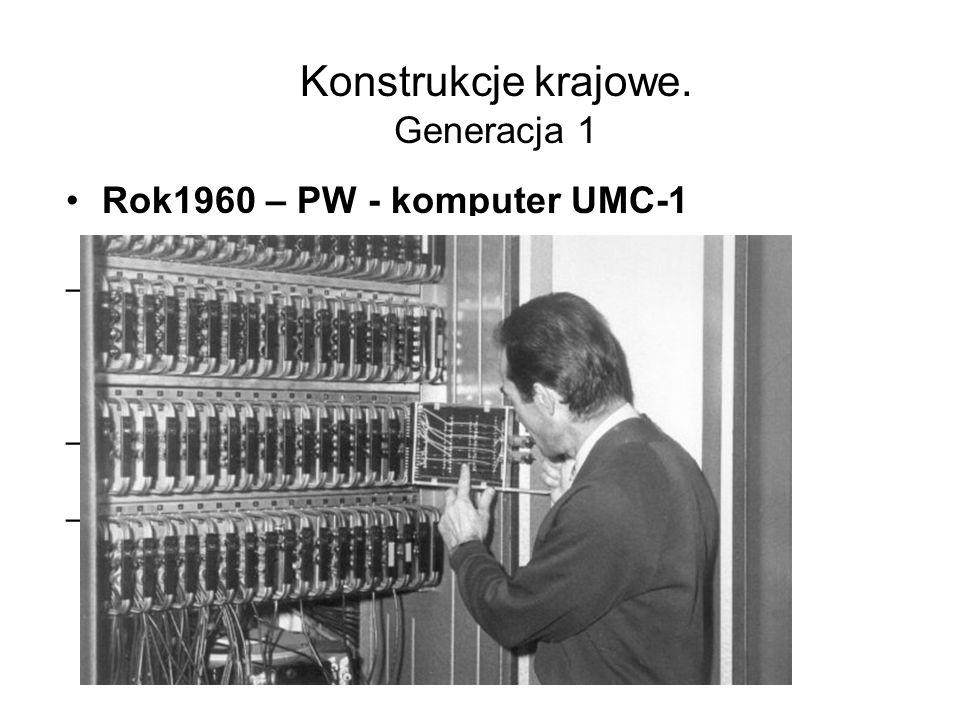 Konstrukcje krajowe. Generacja 1 Rok1958 - komputer XYZ –Architektura – uproszczona IBM 701 –50-4500 dodawań na sekundę –350-500 mnożeń na sekundę –ze