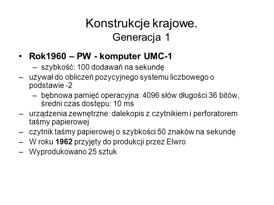 ELWRO 500 Mikrokomputer z procesorem I8080 Pamięć –ROM 12 KB –RAM 48 KB Pamięć masowa – dyski elastyczne 8 Technologia - LSI, VLSI Producent Elwro Wrocław Produkowany od r.