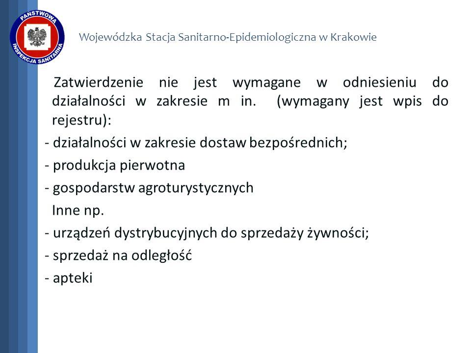 Wojewódzka Stacja Sanitarno-Epidemiologiczna w Krakowie Zatwierdzenie nie jest wymagane w odniesieniu do działalności w zakresie m in. (wymagany jest