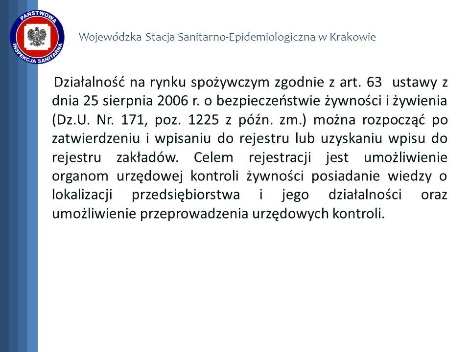 Wojewódzka Stacja Sanitarno-Epidemiologiczna w Krakowie Działalność na rynku spożywczym zgodnie z art. 63 ustawy z dnia 25 sierpnia 2006 r. o bezpiecz