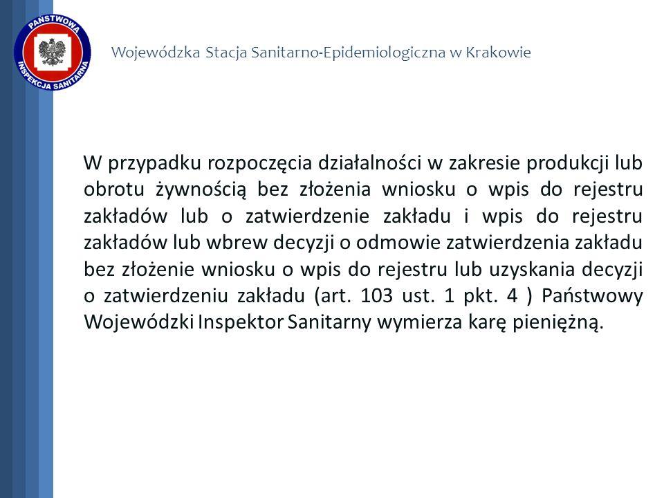 Wojewódzka Stacja Sanitarno-Epidemiologiczna w Krakowie W przypadku rozpoczęcia działalności w zakresie produkcji lub obrotu żywnością bez złożenia wn