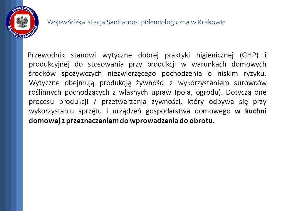 Wojewódzka Stacja Sanitarno-Epidemiologiczna w Krakowie Przewodnik stanowi wytyczne dobrej praktyki higienicznej (GHP) i produkcyjnej do stosowania pr