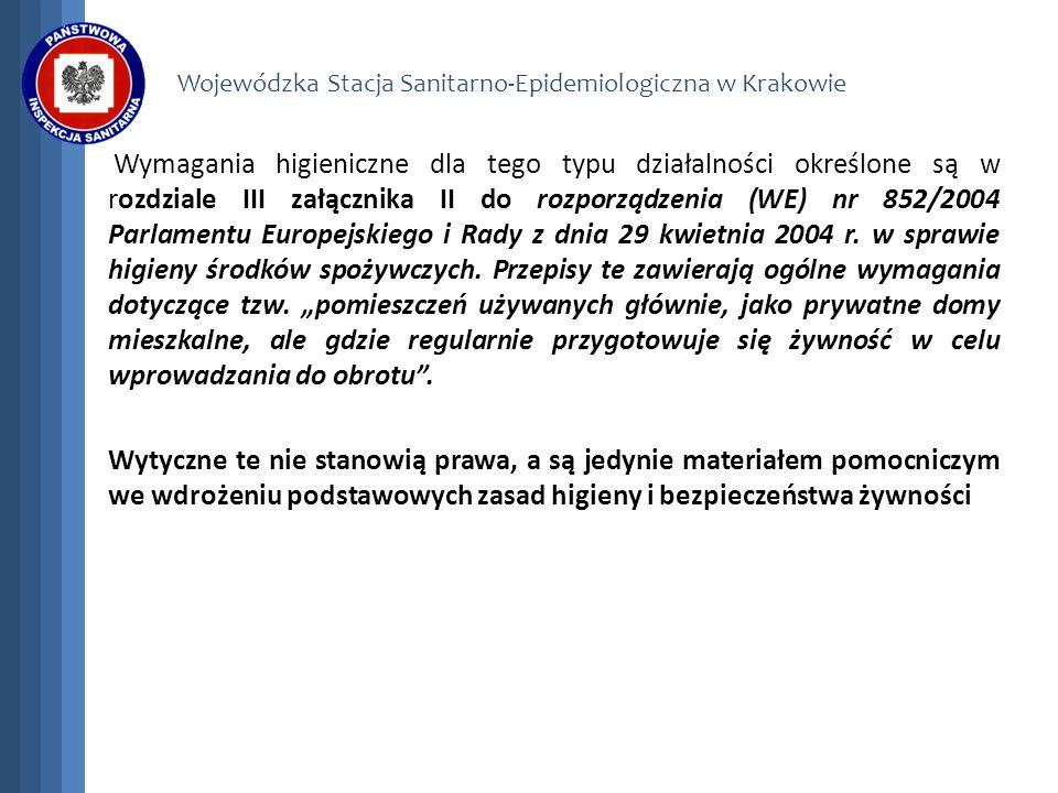 Wojewódzka Stacja Sanitarno-Epidemiologiczna w Krakowie Wymagania higieniczne dla tego typu działalności określone są w rozdziale III załącznika II do