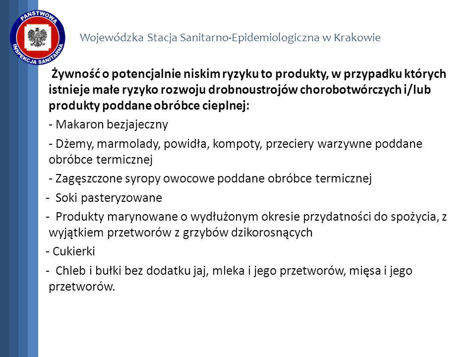 Wojewódzka Stacja Sanitarno-Epidemiologiczna w Krakowie Żywność o potencjalnie niskim ryzyku to produkty, w przypadku których istnieje małe ryzyko roz