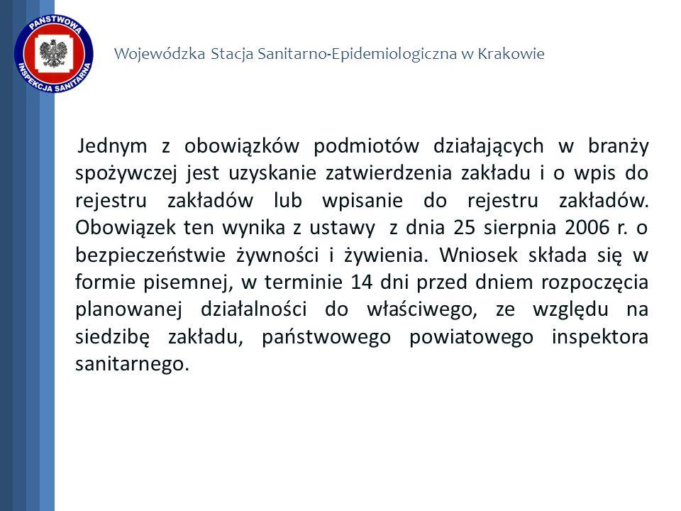 Wojewódzka Stacja Sanitarno-Epidemiologiczna w Krakowie Zatwierdzenie zakładu jest dokonywane w następstwie conajmniej jednej wizyty w miejscu funkcjonowania.